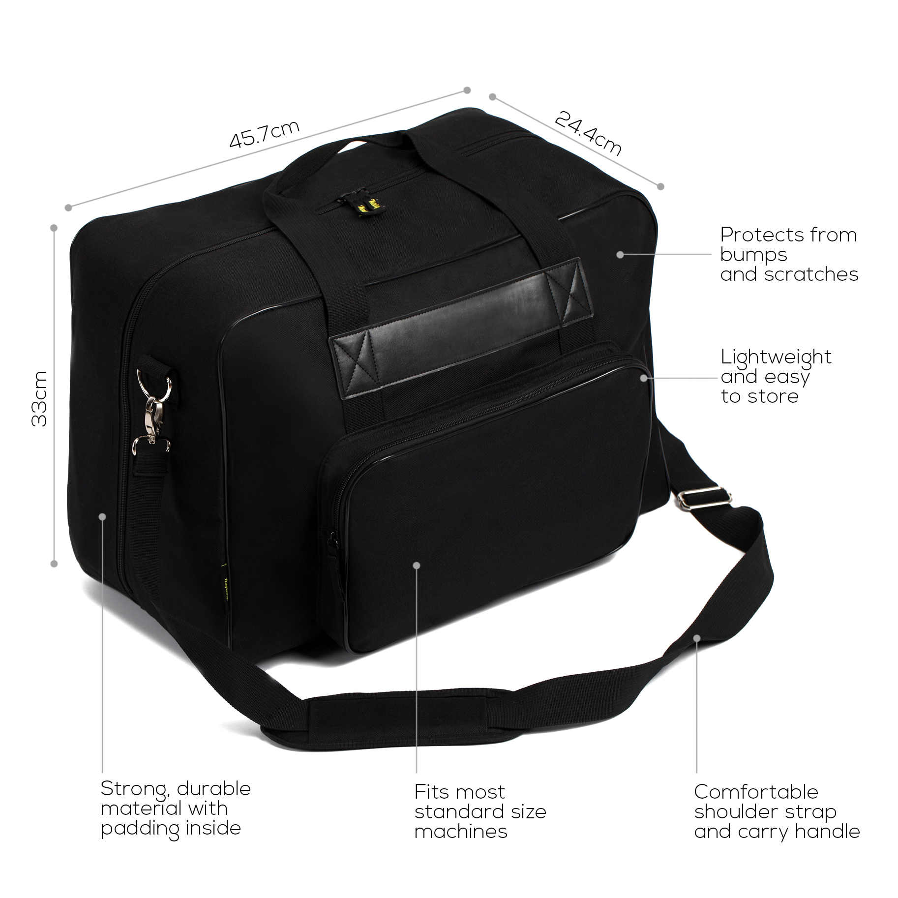 2de273b84c9c Details about Kenley Padded Sewing Machine Tote Bag Carrying Case fits  Singer Brother Janome