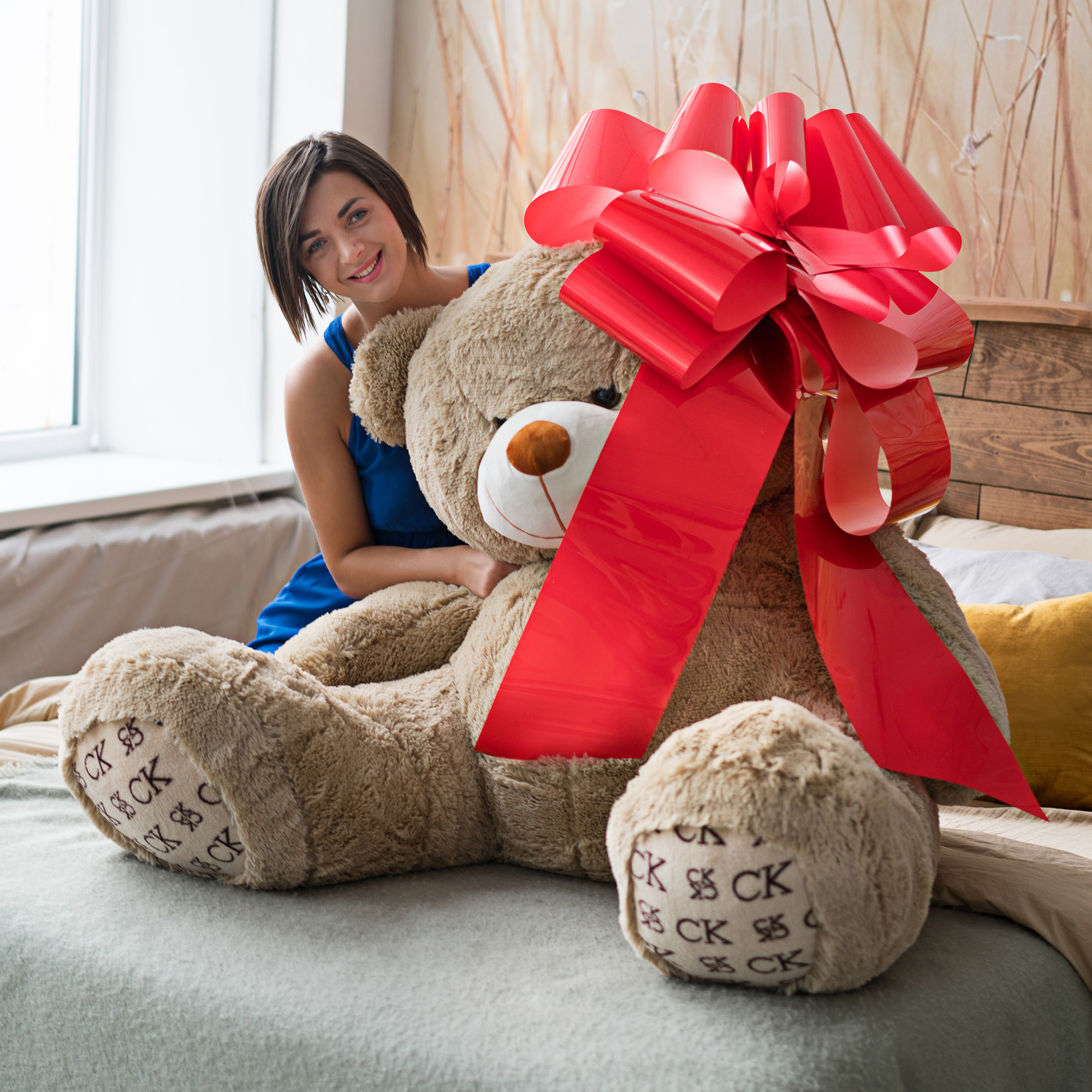 kenley riesige gro e rote schleife 42 cm f r auto fahrrad. Black Bedroom Furniture Sets. Home Design Ideas