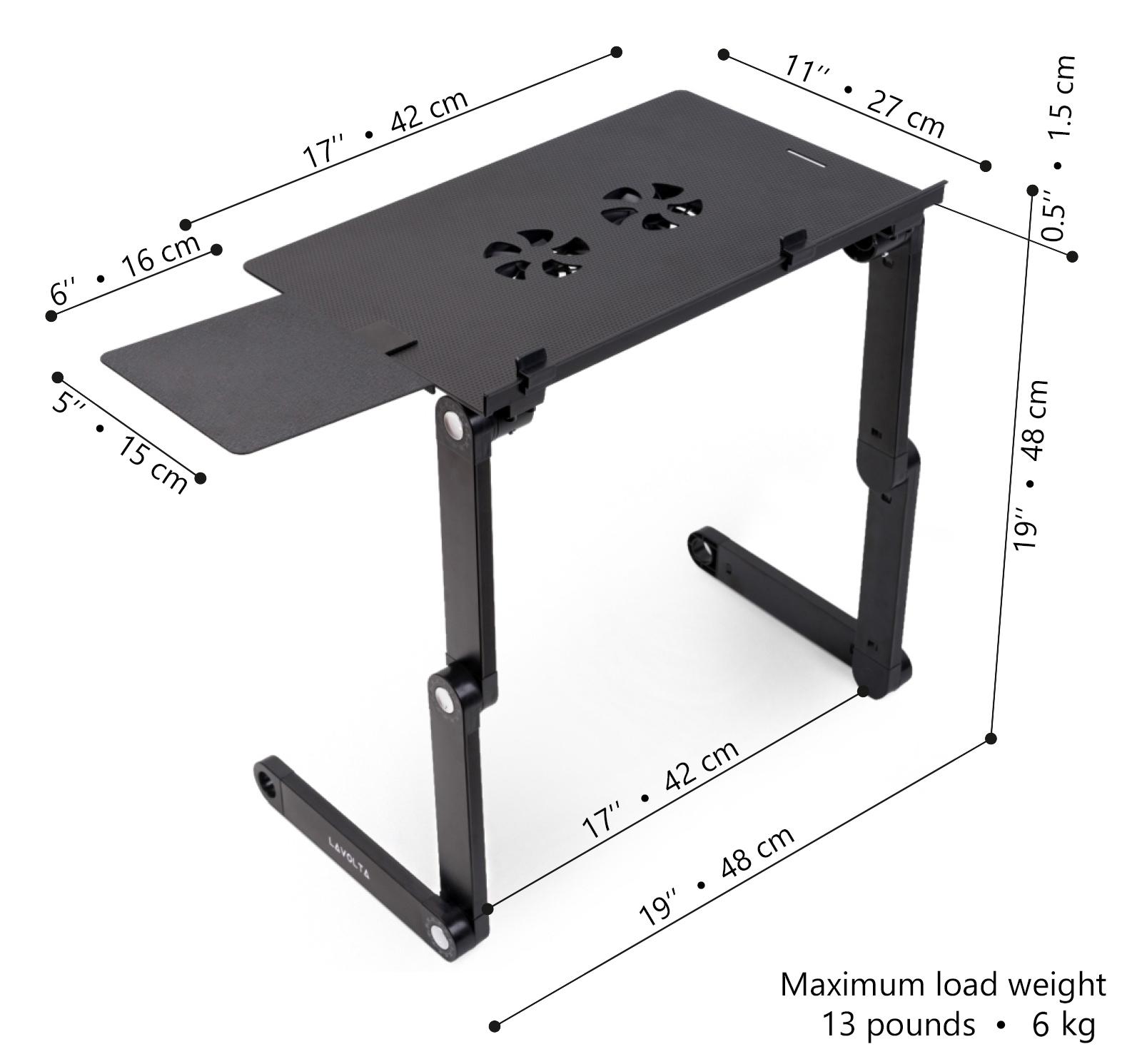 lavolta notebook laptop st nder tisch k hler mit mauspad 2x l fter schwarz ebay. Black Bedroom Furniture Sets. Home Design Ideas