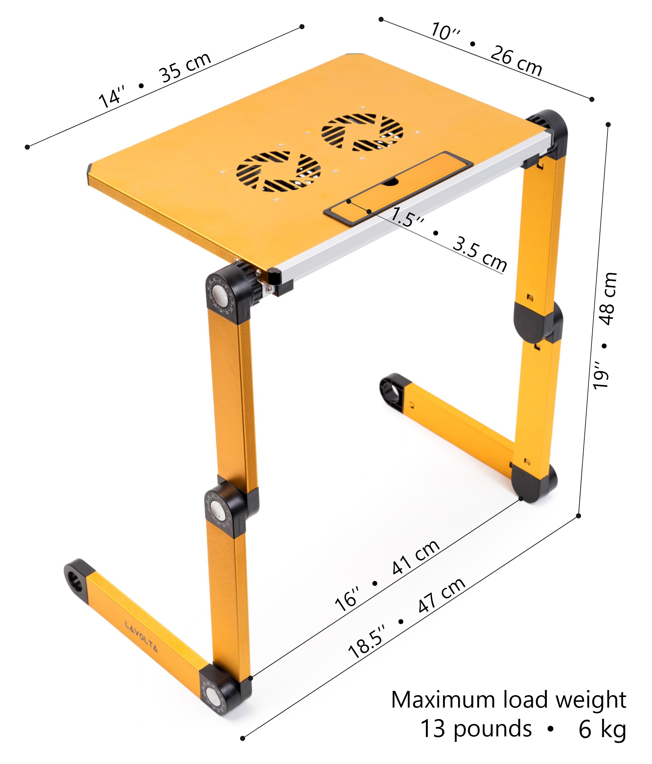 lavolta notebook laptop st nder tisch k hler 2x l fter gelb ebay. Black Bedroom Furniture Sets. Home Design Ideas